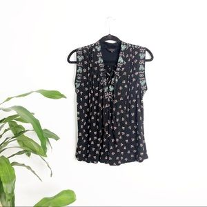 Lucky Brand┃Embroidered Black Sleeveless Blouse